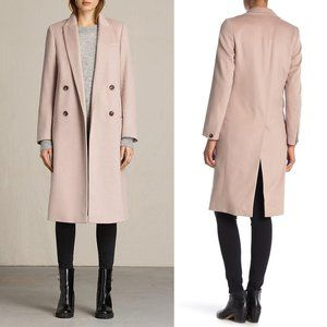 allsaints dusty pink wool double breasted coat